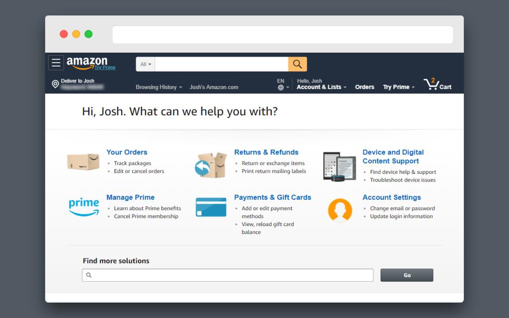 screenshot of Amazon help page