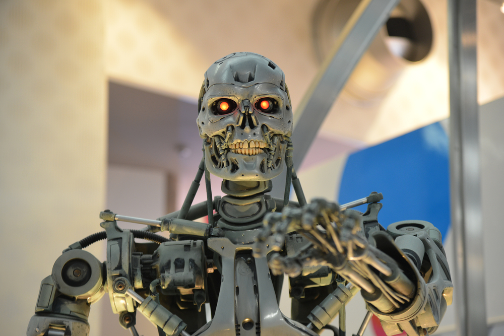 photo of a 3D model of the Terminator robot